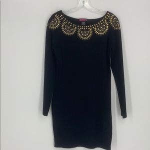 Say What?  Black Long Sleeve Tunic Sweater Size L